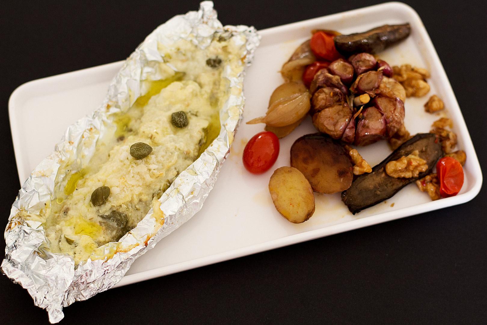 peixe no papelote com alcaparra e maionese