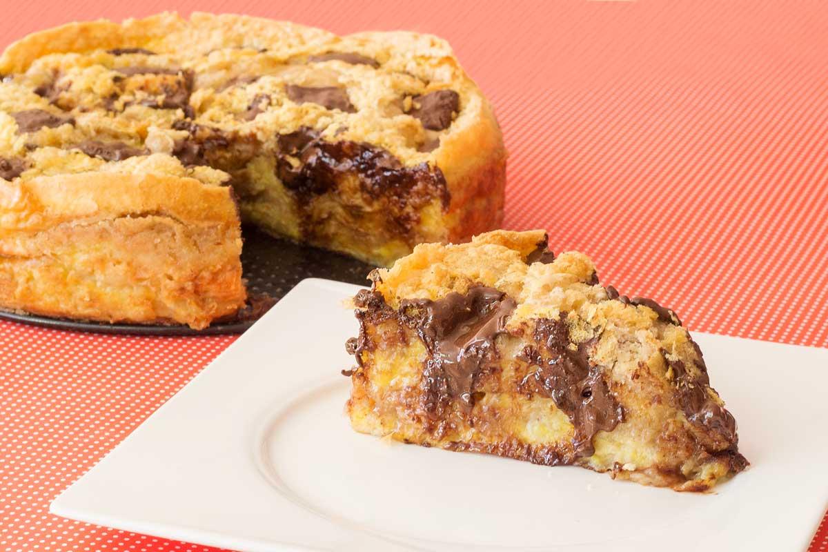torta preguiçosa de banana com chocolate