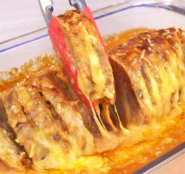 Carne de panela com molho rosê gratinado